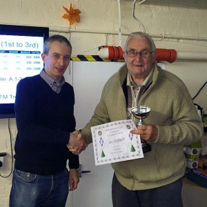 Adjudicator Lee G0MTN presents Jim 2E0BLP with the 2m FM Trophy